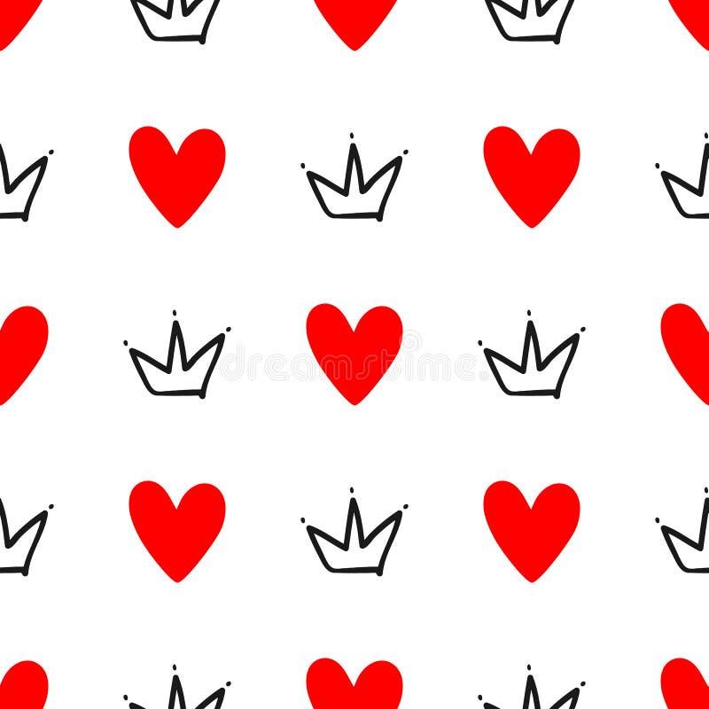 Częstotliwi serca i korony rysujący ręką bezszwowy słodkie wzoru Nakreślenie, doodle, skrobanina royalty ilustracja