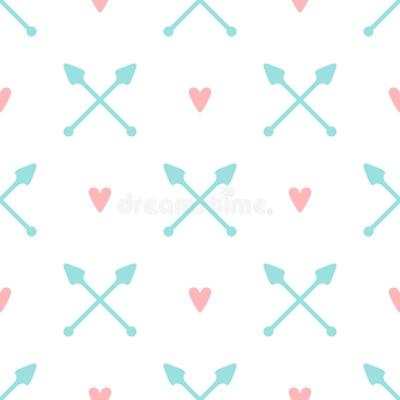 Częstotliwi serca i krzyżować strzała Uroczy romantyczny bezszwowy wzór r ilustracji