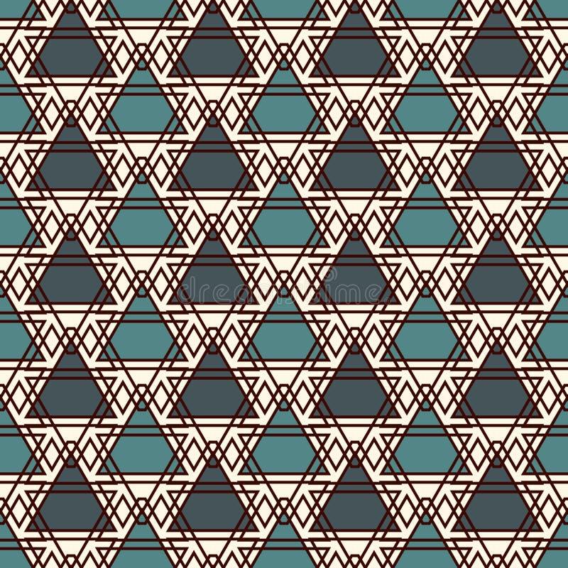 Częstotliwi trójboki i cienieją kreskowego siatki tło Prosta abstrakcjonistyczna tapeta Bezszwowy wzór z geometrycznymi postaciam ilustracja wektor