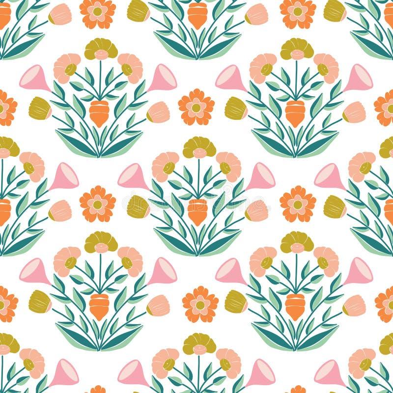Częstotliwy deseniowy projekt z pastelowym kwiatu składem, ilustracji