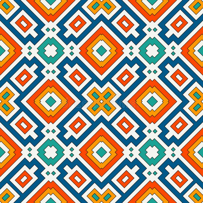 Częstotliwy jaskrawy karowy tło Geometryczny motyw Bezszwowy wzór z żywym kwadratowym ornamentem Etniczny cyfrowy papier ilustracja wektor