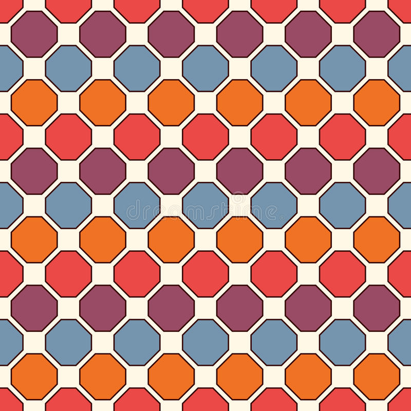 Częstotliwy ośmioboka witrażu mozaiki tło Jaskrawe ceramiczne płytki Bezszwowy wzór z geometrycznym ornamentem ilustracji