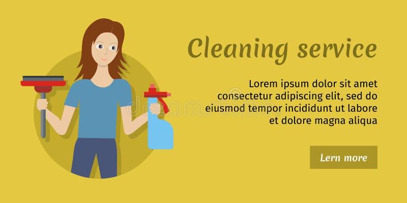 Członek Cleaning usługa z miotłą i Cleaner ilustracji