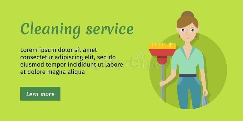 Członek Cleaning usługa z miotłą i Duster ilustracji