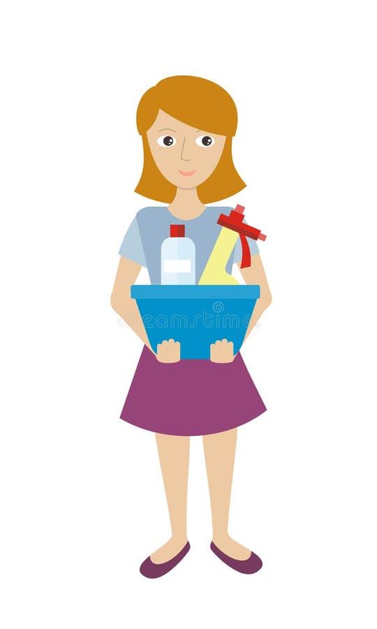 Członek Cleaning usługa z Szklanym Cleaner royalty ilustracja