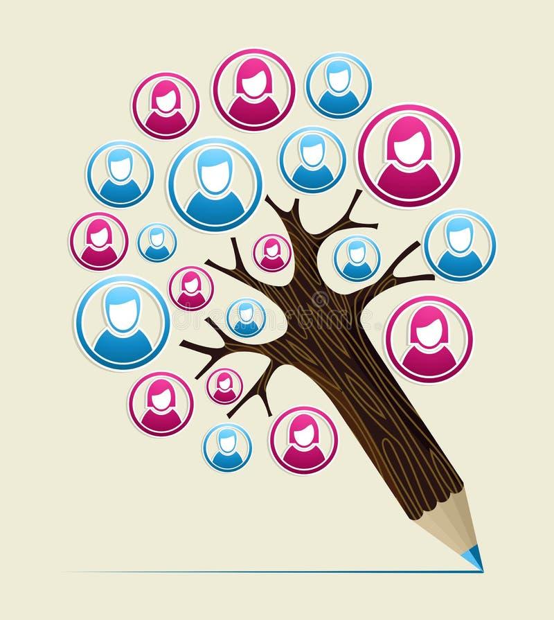 Członka użytkownika pojęcia ołówka drzewo royalty ilustracja