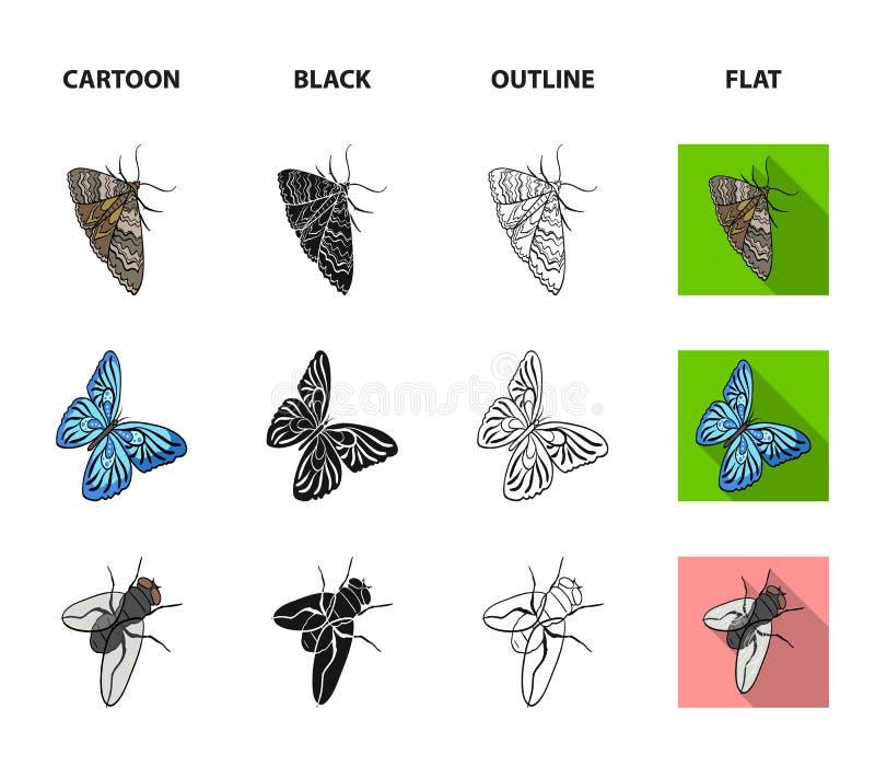 Członkonoga insekta ściga, ćma, motyl, komarnica Insekt ustawiać inkasowe ikony w kreskówce, czerń, kontur, mieszkanie stylowy we ilustracja wektor