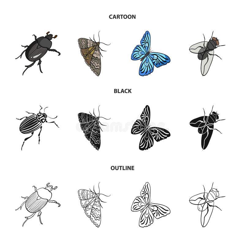 Członkonoga insekta ściga, ćma, motyl, komarnica Insekt ustawiać inkasowe ikony w kreskówce, czerń, konturu stylowy wektor royalty ilustracja