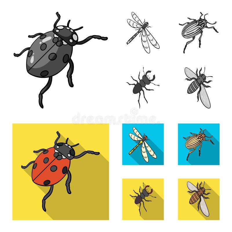 Członkonoga insekta ladybird, dragonfly, ściga, Kolorado ścigi insekt ustawiać inkasowe ikony w monochromu, mieszkanie styl ilustracja wektor