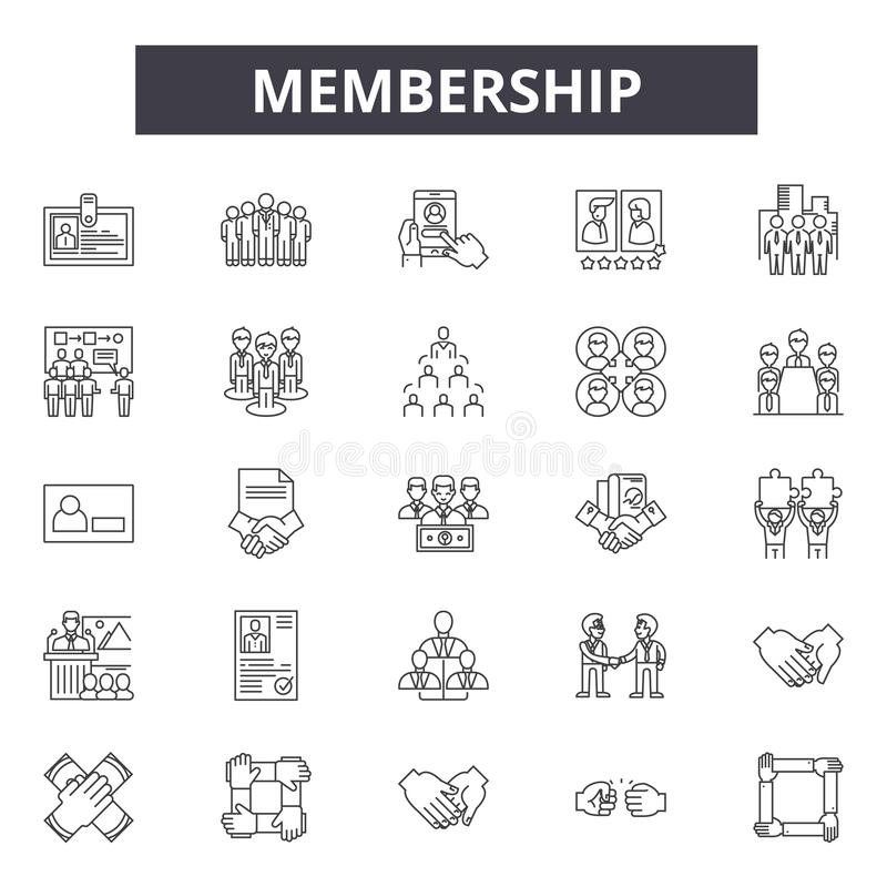 Członkostwo kreskowe ikony, znaki, wektoru set, kontur ilustracji pojęcie ilustracji