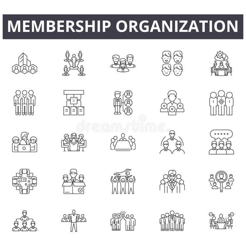 Członkostwo organizacji pojęcia linii ikony, znaki, wektoru set, liniowy pojęcie, kontur ilustracja royalty ilustracja