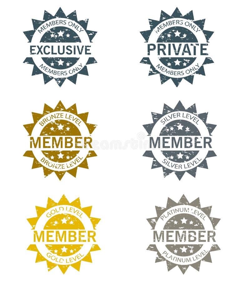 Członkostwo znaczki Ustawiający ilustracji