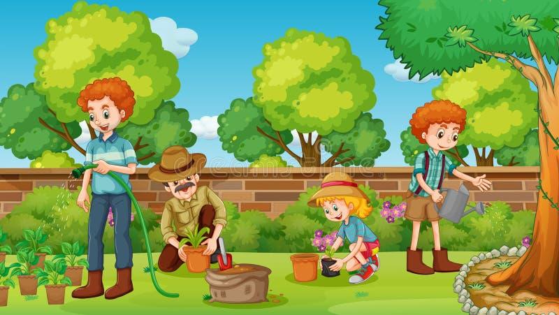 Członkowie rodziny szczęśliwi w ogródzie royalty ilustracja