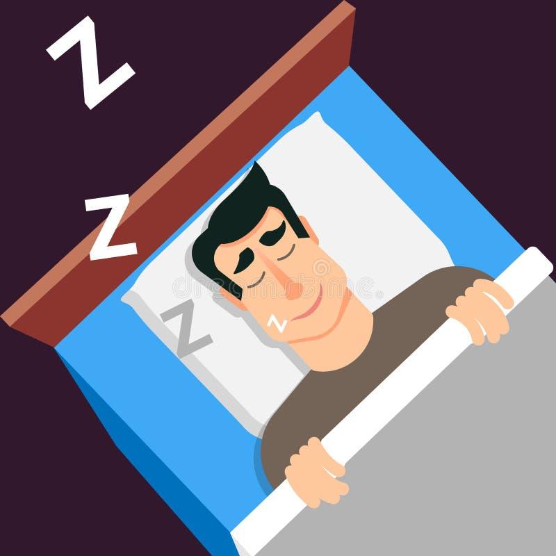 człowiek śpi Chrapa mężczyzna w nowożytnym mieszkaniu projektuje dla sieć sztandarów a ilustracji