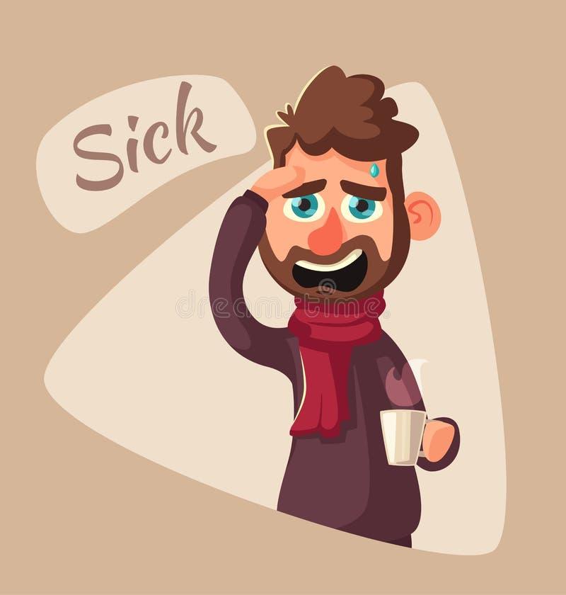 człowiek choroby Nieszczęśliwy charakter chłopiec kreskówka zawodzący ilustracyjny mały wektor ilustracja wektor