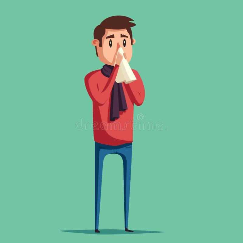 człowiek choroby Nieszczęśliwy charakter chłopiec kreskówka zawodzący ilustracyjny mały wektor royalty ilustracja