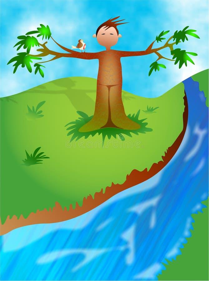 człowiek drzewo royalty ilustracja