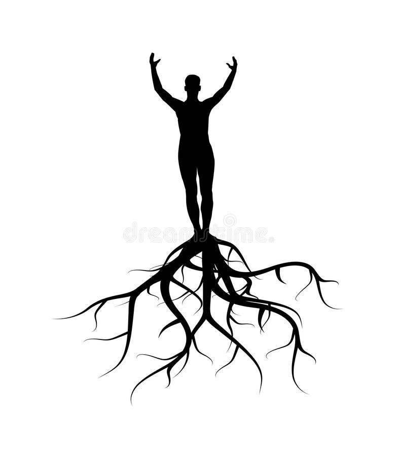 człowiek korzenie ilustracja wektor