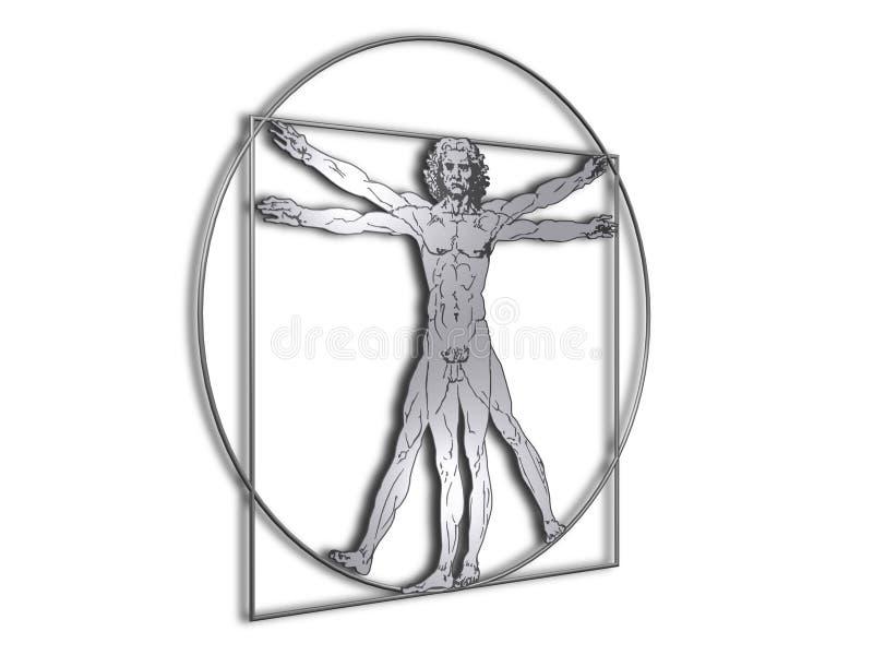 człowiek metalu davinci błyszczący vitruvian ilustracji
