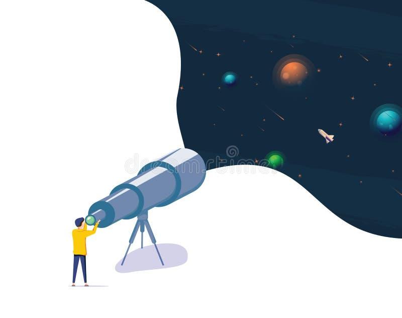Człowiek oglądający nocne gwiaździste niebo przez teleskop Astronomia Science Hobby, Ilustracja izolowana Facet patrzący na gwiaz ilustracji