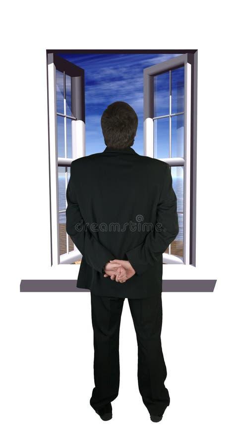 człowiek okno obrazy royalty free
