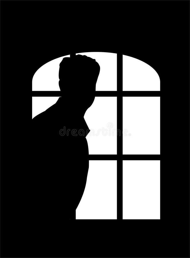 człowiek okno royalty ilustracja