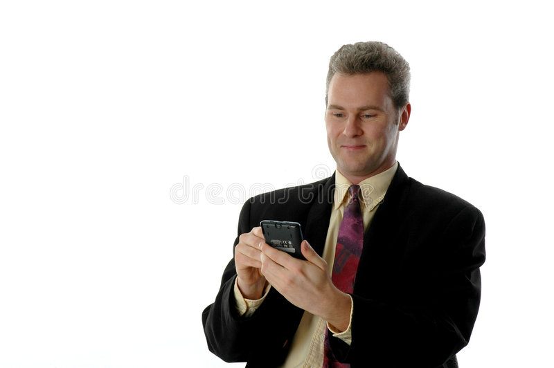 człowiek pda uśmiecha się obraz stock