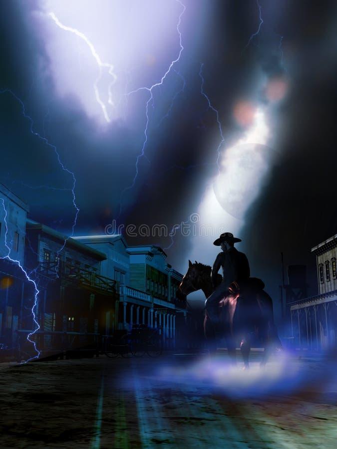Człowiek postronny przy nocą ilustracji
