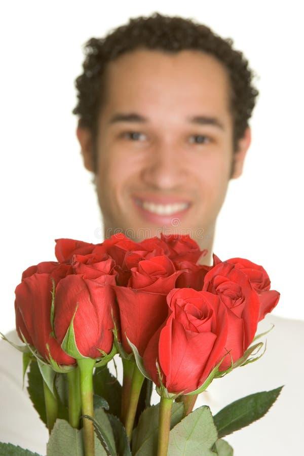 człowiek róże zdjęcie stock