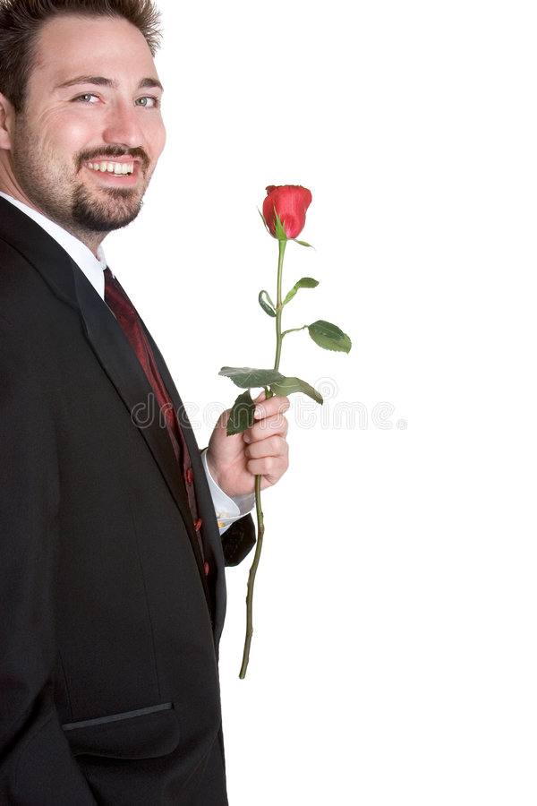 człowiek romantyczne rose obraz stock