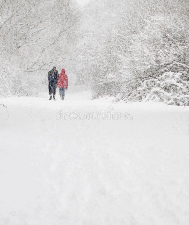 człowiek spacer śnieżna kobieta obraz stock