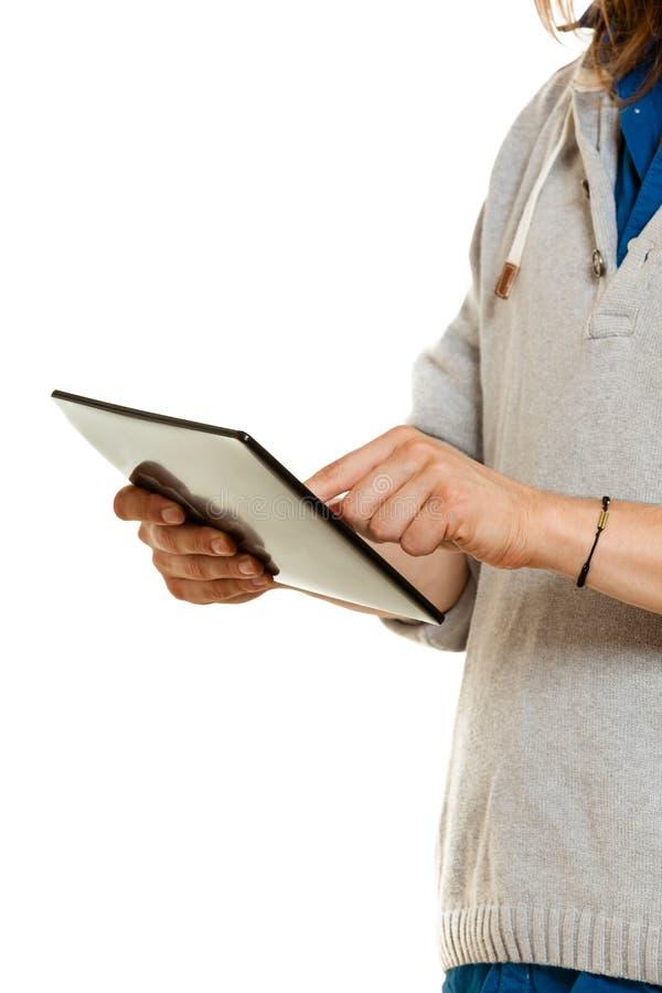 Człowiek używający komputera typu tablet PC, koncepcja nowej technologii fotografia royalty free
