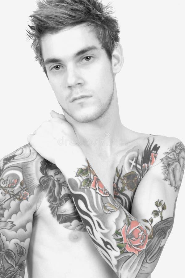 człowiek wyższy tatuaż fotografia stock