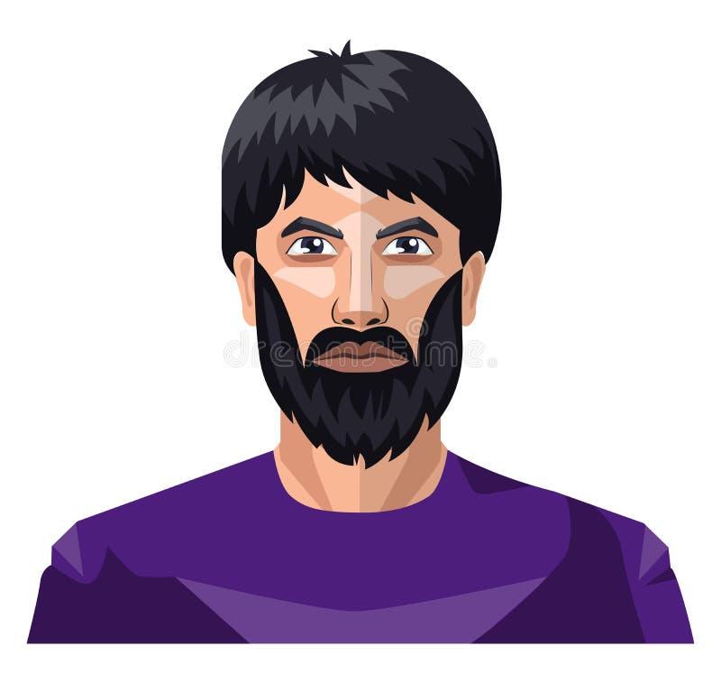 Człowiek z brodą i długimi czarnymi włosami wektorem ilustracyjnym ilustracji