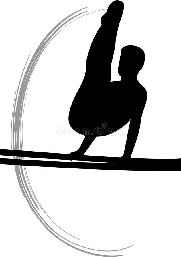 człowiek zabrania gimnastyka równoległą s royalty ilustracja