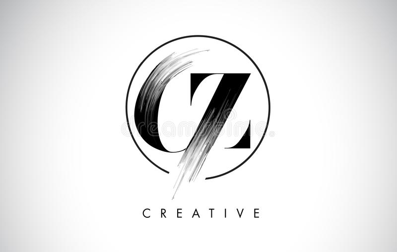 CZ Brush Stroke Letter Logo Design. Black Paint Logo Letters Icon royalty free illustration