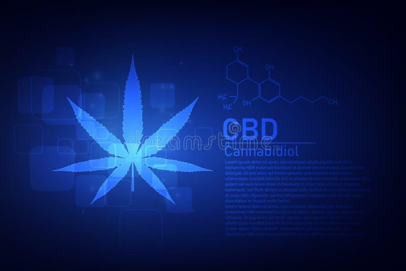 Cz?steczkowej struktury chemii formu?y medyczna marihuana formu?a CBD, wektorowa ilustracja ilustracji