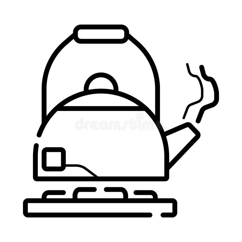 Czajników czyraki na benzynowym płomieniu royalty ilustracja
