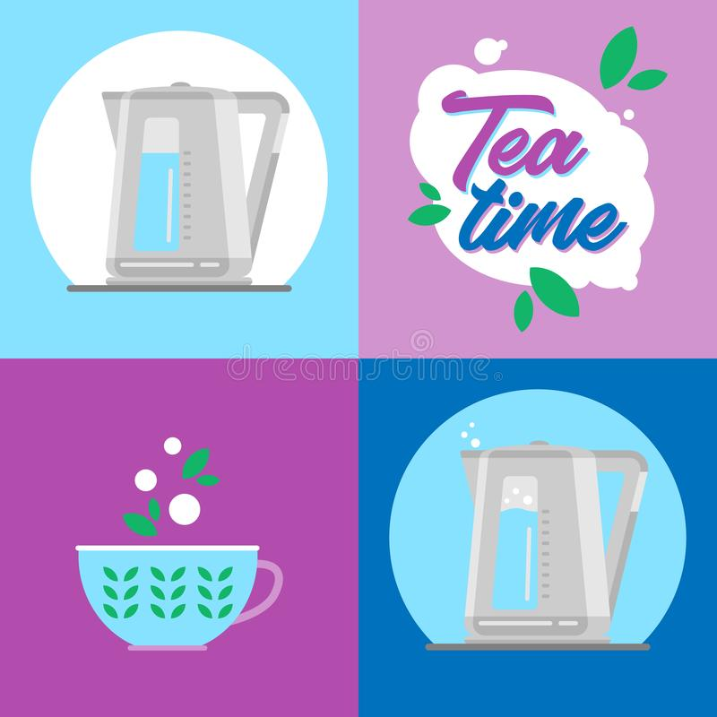 czajnik elektryczny Infographics ikony zegarowy życia wciąż herbaciany czas zdjęcie stock
