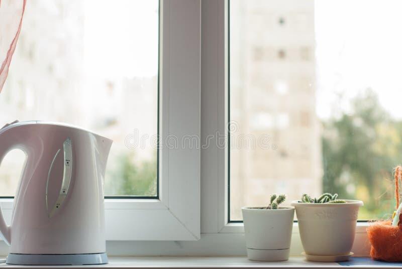 Czajnik i garnki z kwiatami na windowsill, zdjęcie stock