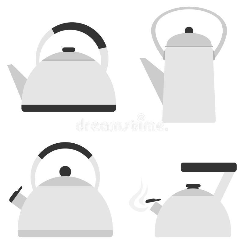 Czajnik, set czajnik w szarość ilustracja wektor