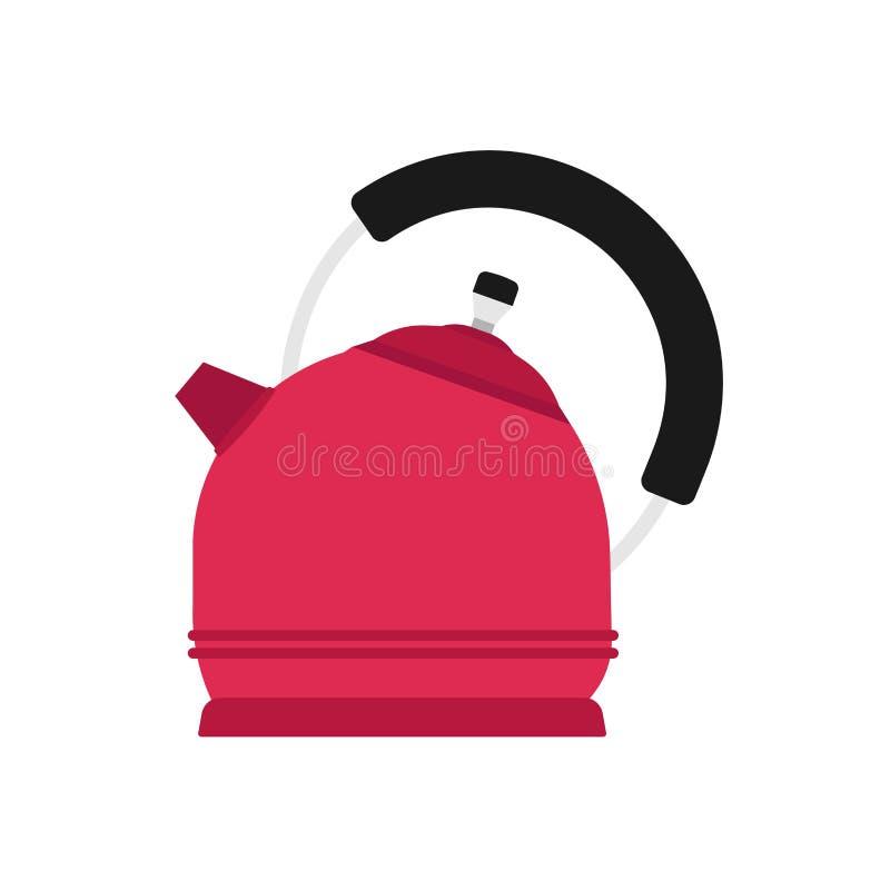 Czajnik wektorowej ikony r?koje?ci kuchenny urz?dzenie Kresk?wka garnka herbaciany czyrak Naczynia wodny kulinarny jedzenie Płask royalty ilustracja