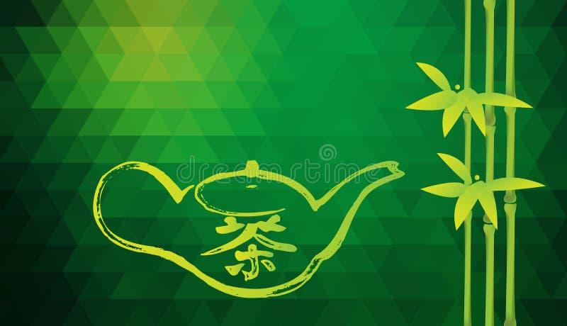 Czajnik z hieroglifami Herbacianymi i bambusowymi Chiński pojęcie herbata Tło z przestrzenią dla teksta royalty ilustracja