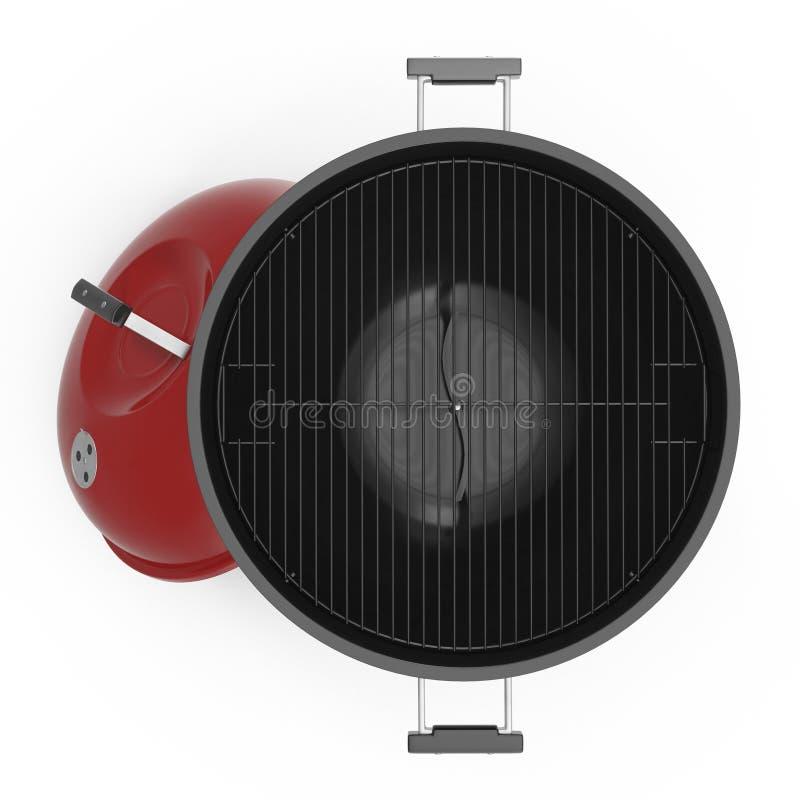 Czajnika bbq otwarty grilla grill na bielu Odgórny widok ilustracja 3 d ilustracja wektor
