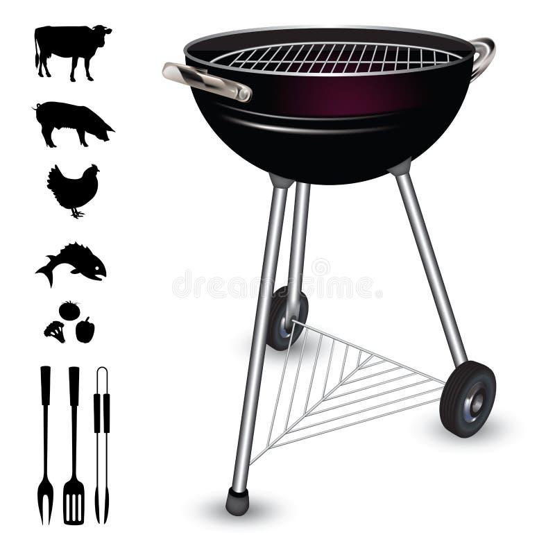 Czajnika grilla grill ilustracji