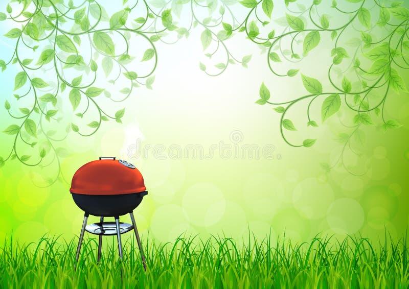 Czajnika grilla grill na podwórku ilustracji