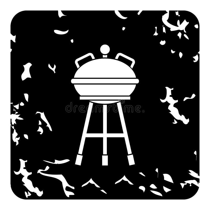 Czajnika grilla grilla ikona, grunge styl royalty ilustracja