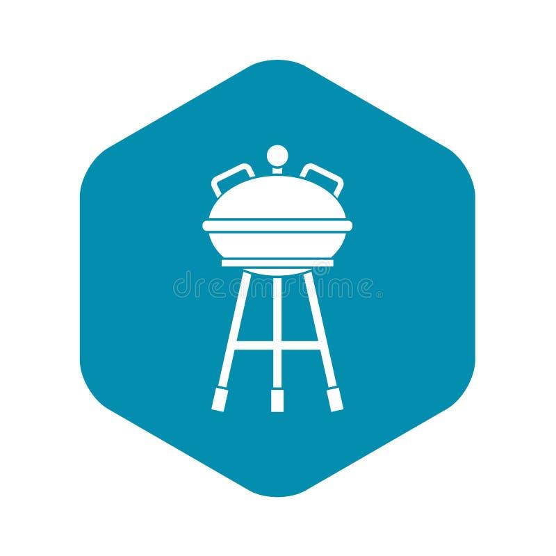 Czajnika grilla ikona, prosty styl ilustracji
