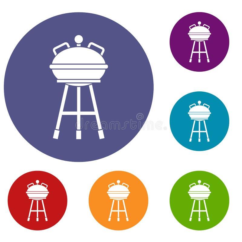 Czajnika grilla ikony ustawiać ilustracja wektor
