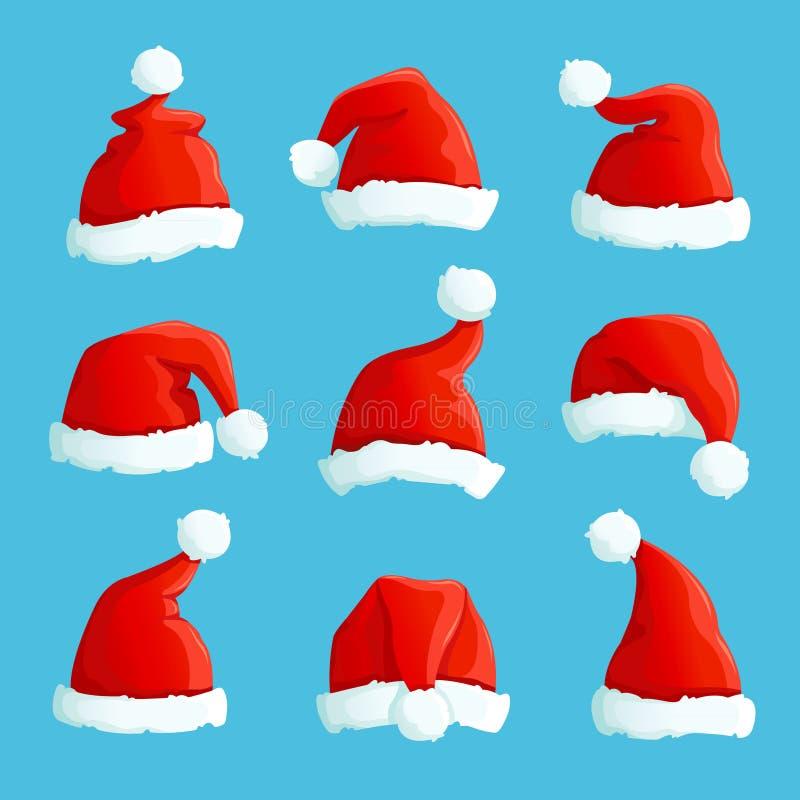 czapki Mikołaja Kreskówek bożych narodzeń kostiumu nakrętki z futerkiem Santa Claus wektoru kapeluszowy set ilustracji